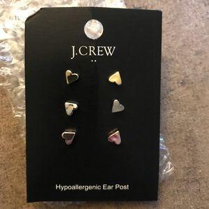 NWT JCrew set of 3 tri color heart earrings